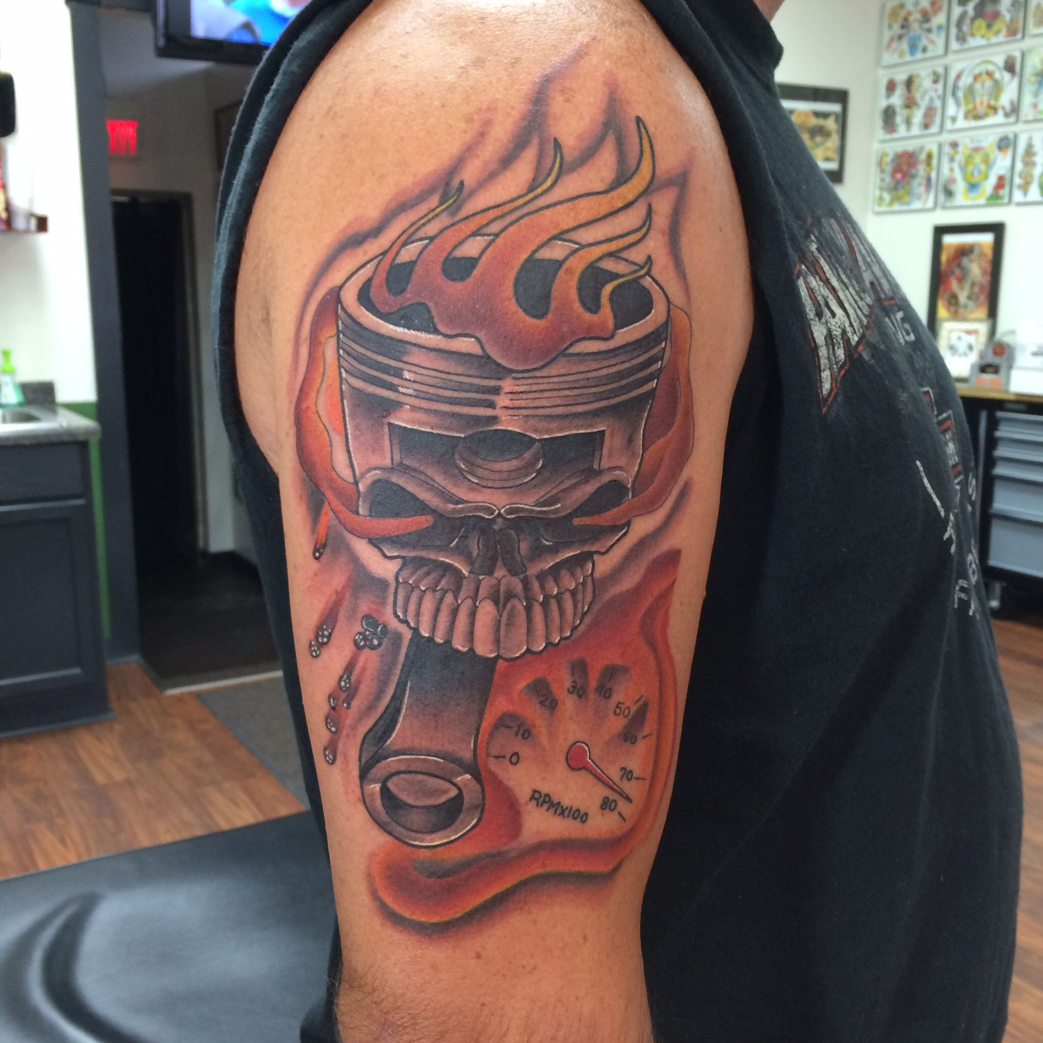 With that said 60 high horsepower piston tattoo designs for men - Tattoo Skull Piston With Flames And Tachometer Tattoo Ideasskull