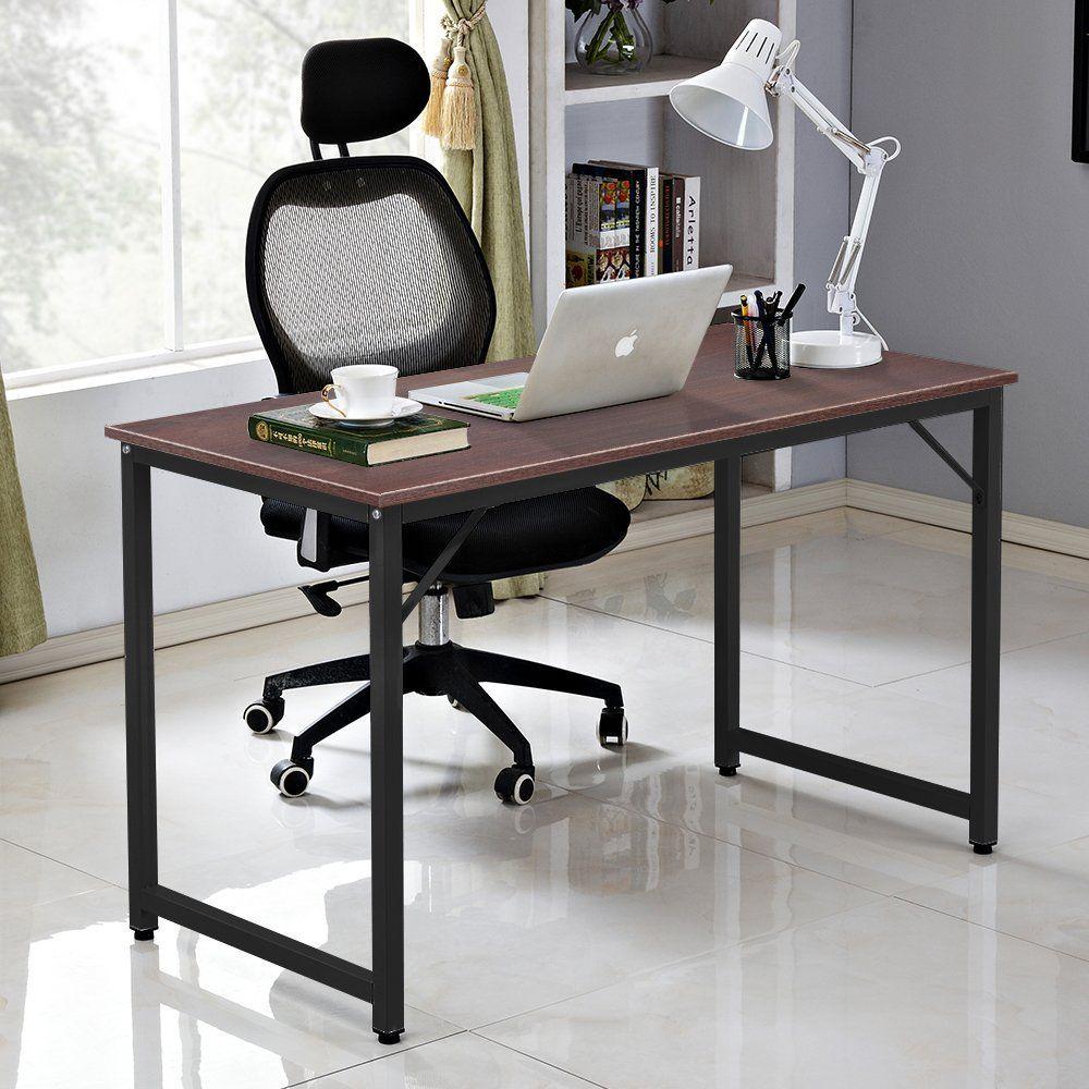 Pleasing Dlandhome Luxurious Computer Desk 47 Inch Large Office Desk Download Free Architecture Designs Ferenbritishbridgeorg