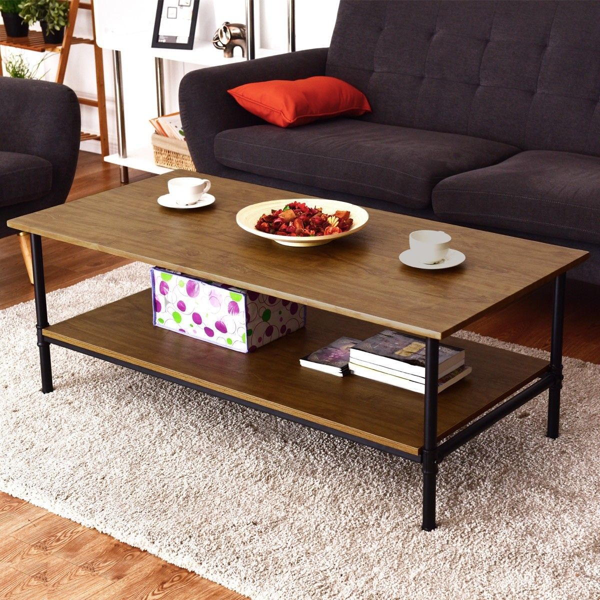 Rectangle Metal Frame Cocktail Coffee Table With Storage Shelf