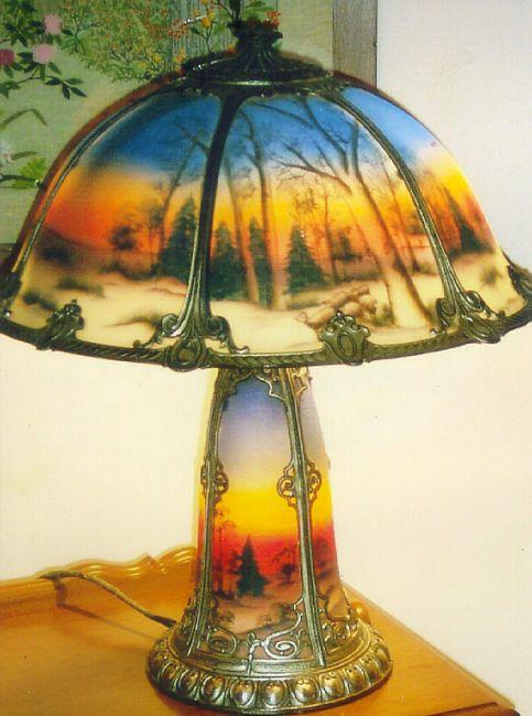 Phoenix Glass Reverse Painted Table Lamp Painting Lamp Shades Painting Lamps Antique Lamp Shades