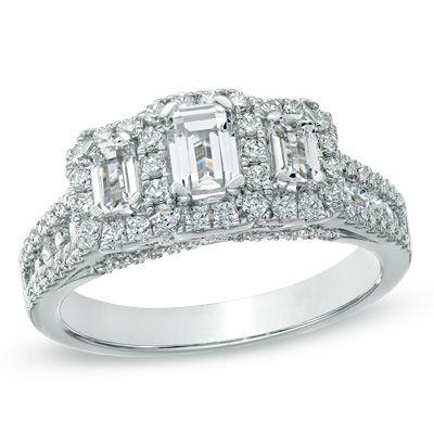 1-1/2 CT. T.W. Certified Emerald-Cut Diamond Three Stone Frame Ring in 14K White Gold (H-I/SI2-I1)
