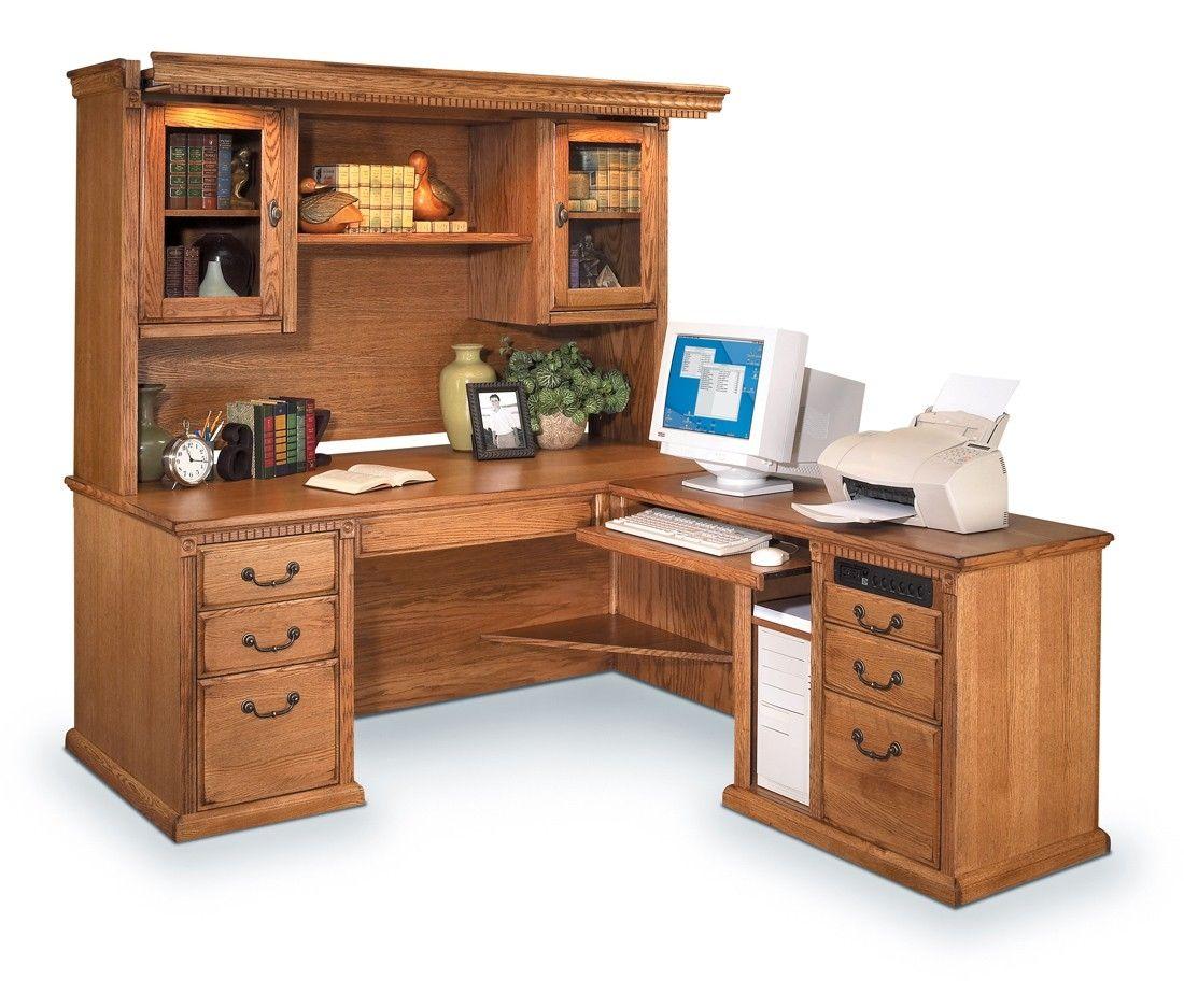 Wood l shaped computer desk with hutch devintavern