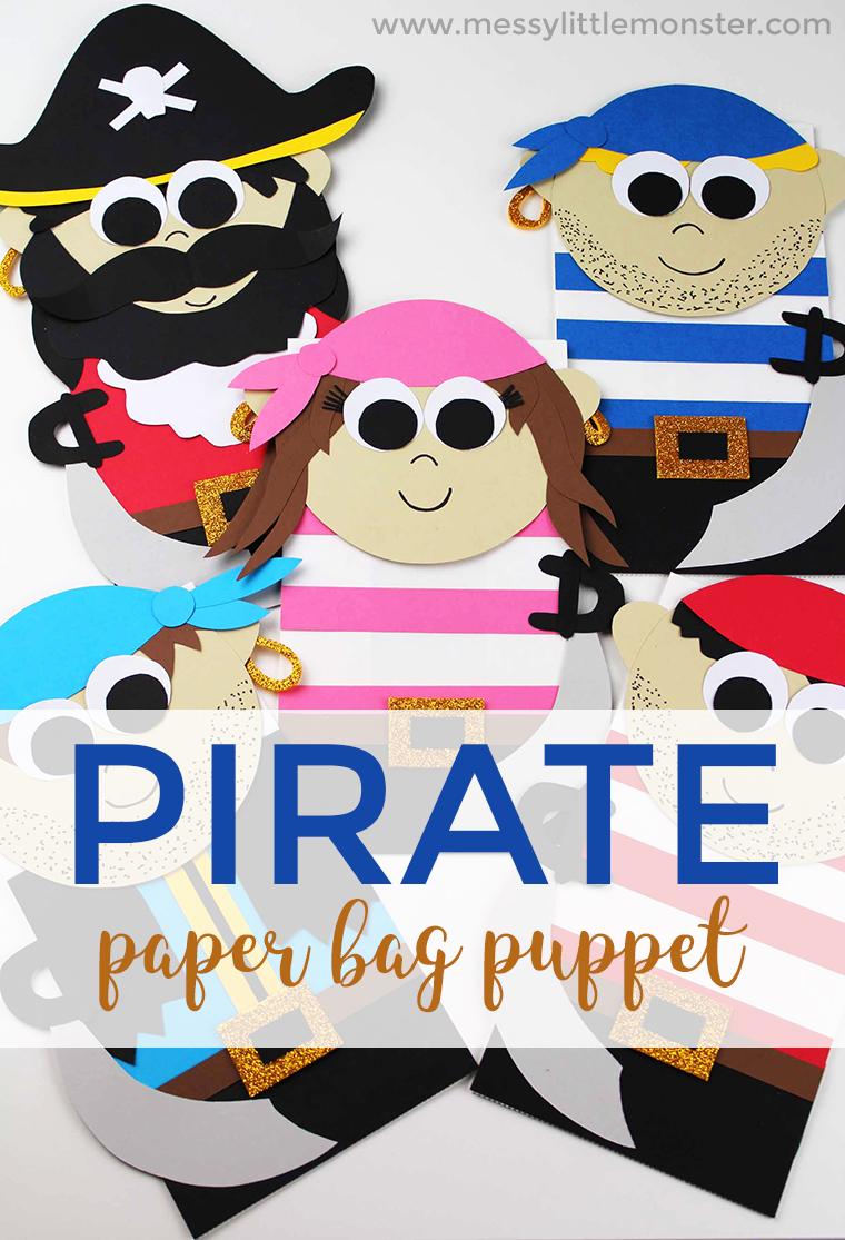 Pirate Paper Bag Puppet a Fun Pirate Craft for Kids