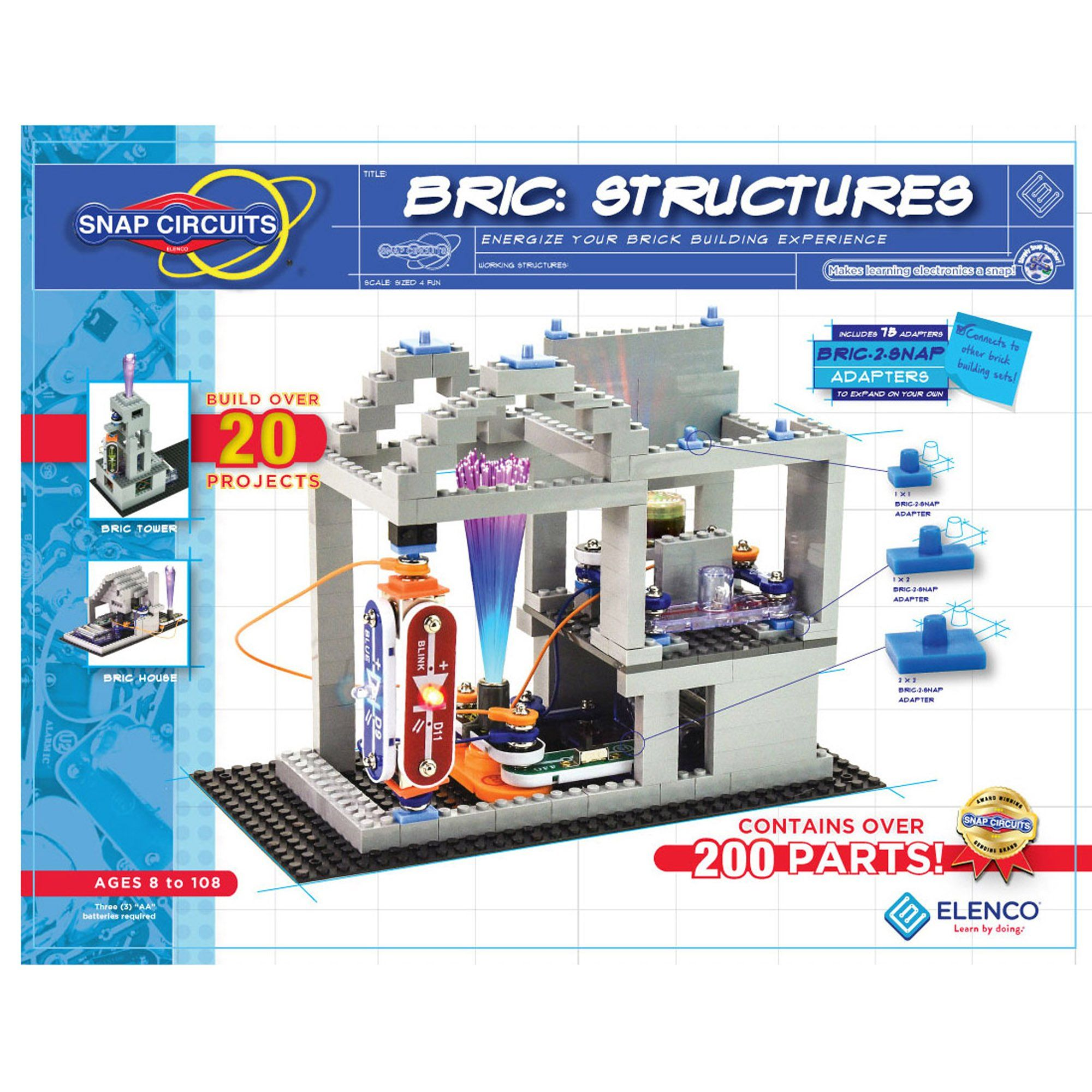 Elenco Snap Circuits Bric Structures 20 Stem Projects Electronics Lights Scbric1