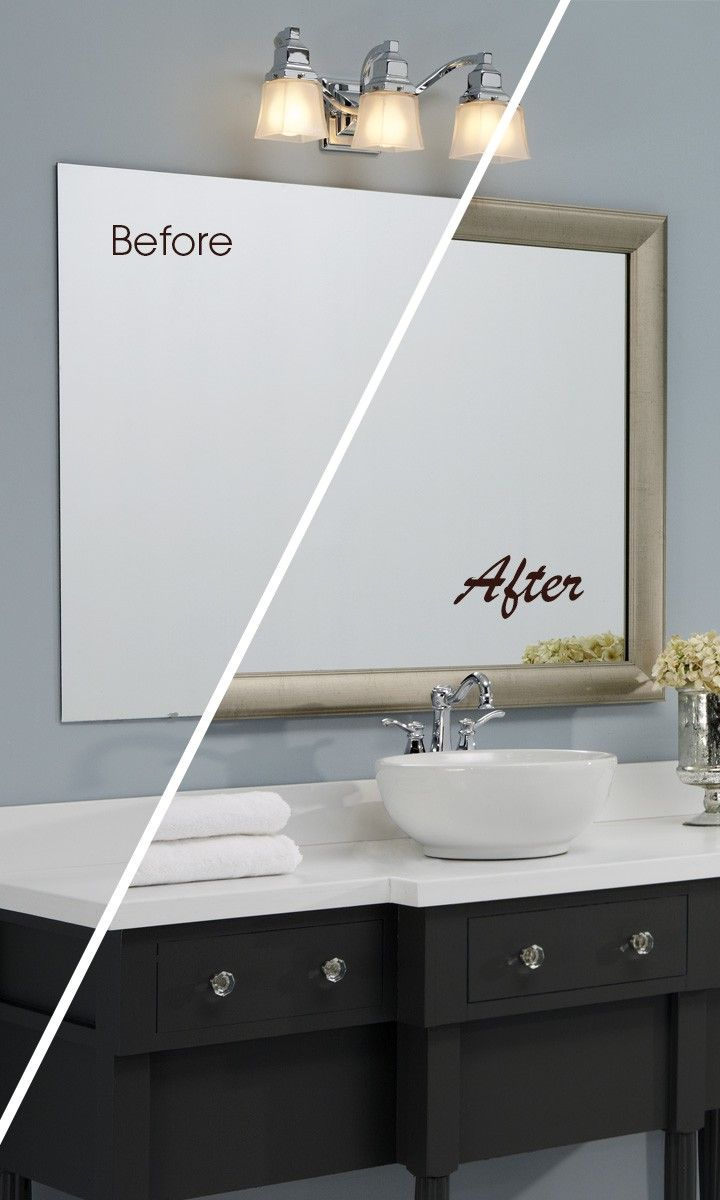 A MirrorMate frame in the Pemaquid style completes the bathroom ...