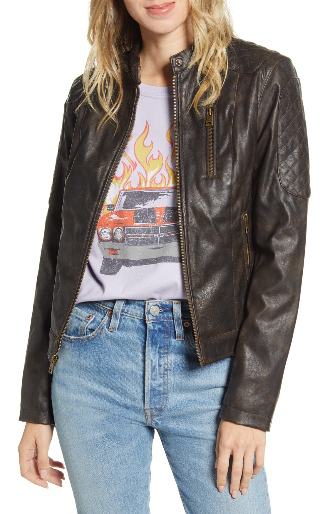 Levi's® Faux Leather Racer Jacket Nordstrom Womens