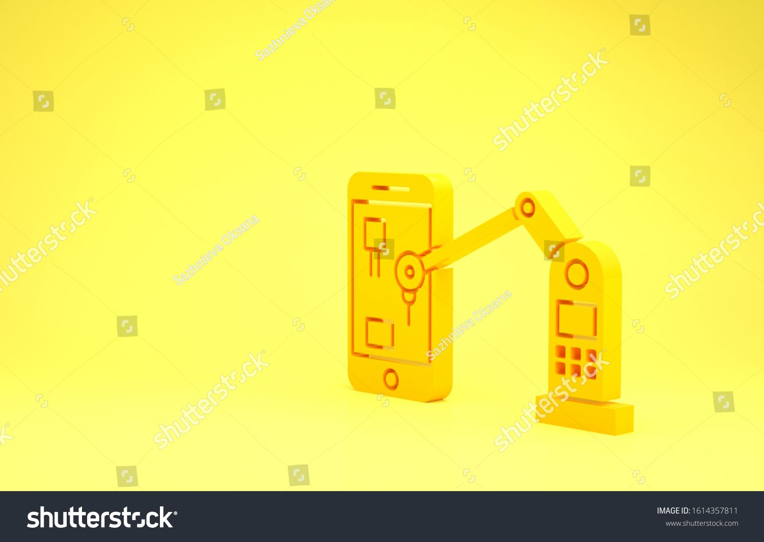 Yellow Industrial machine robotic robot arm hand on mobile