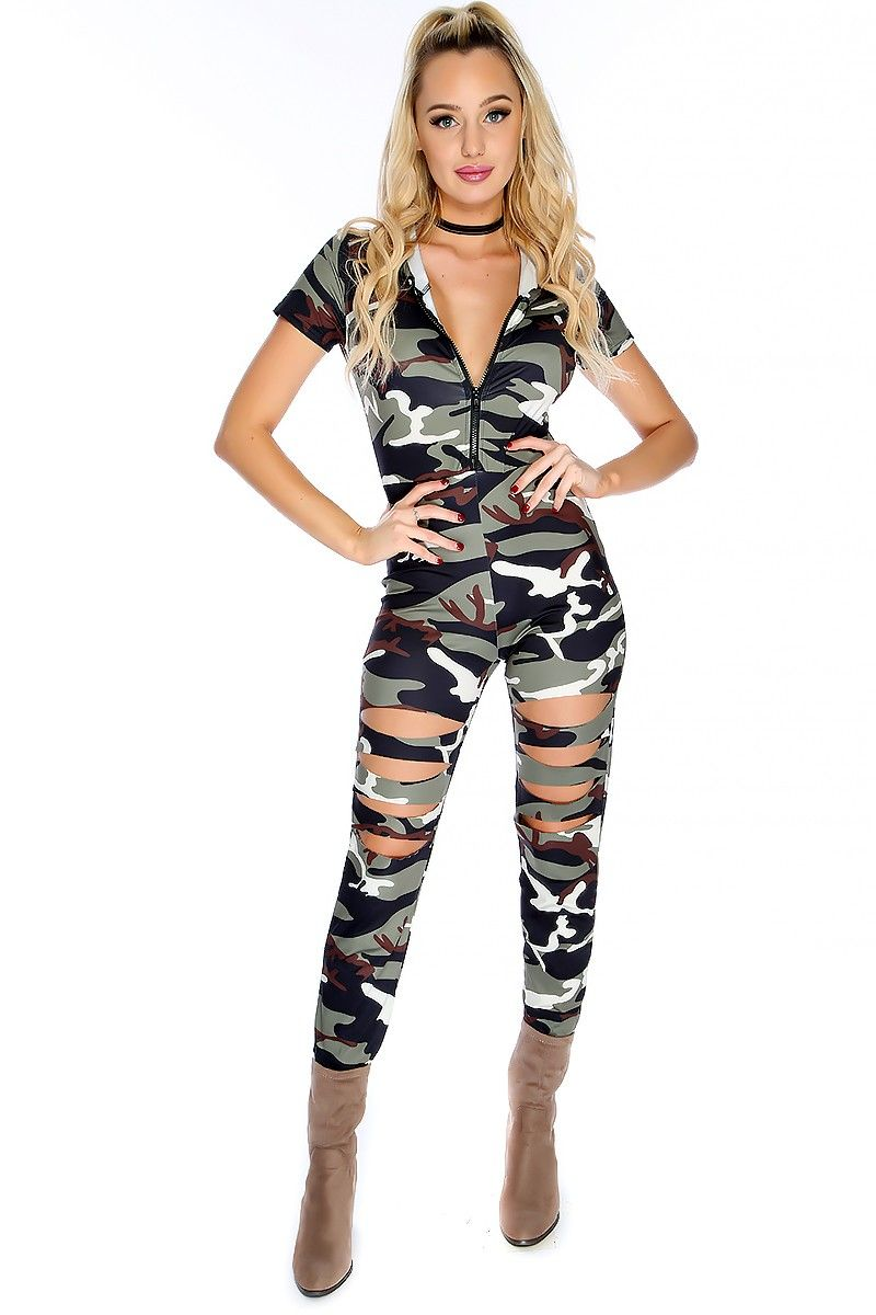 e06d0c7fc264e Wear this stylish jumpsuit for a night out at the club! Featuring; camo  print, hooded, short sleeve, front zip closure. Followed by a fitted wear.