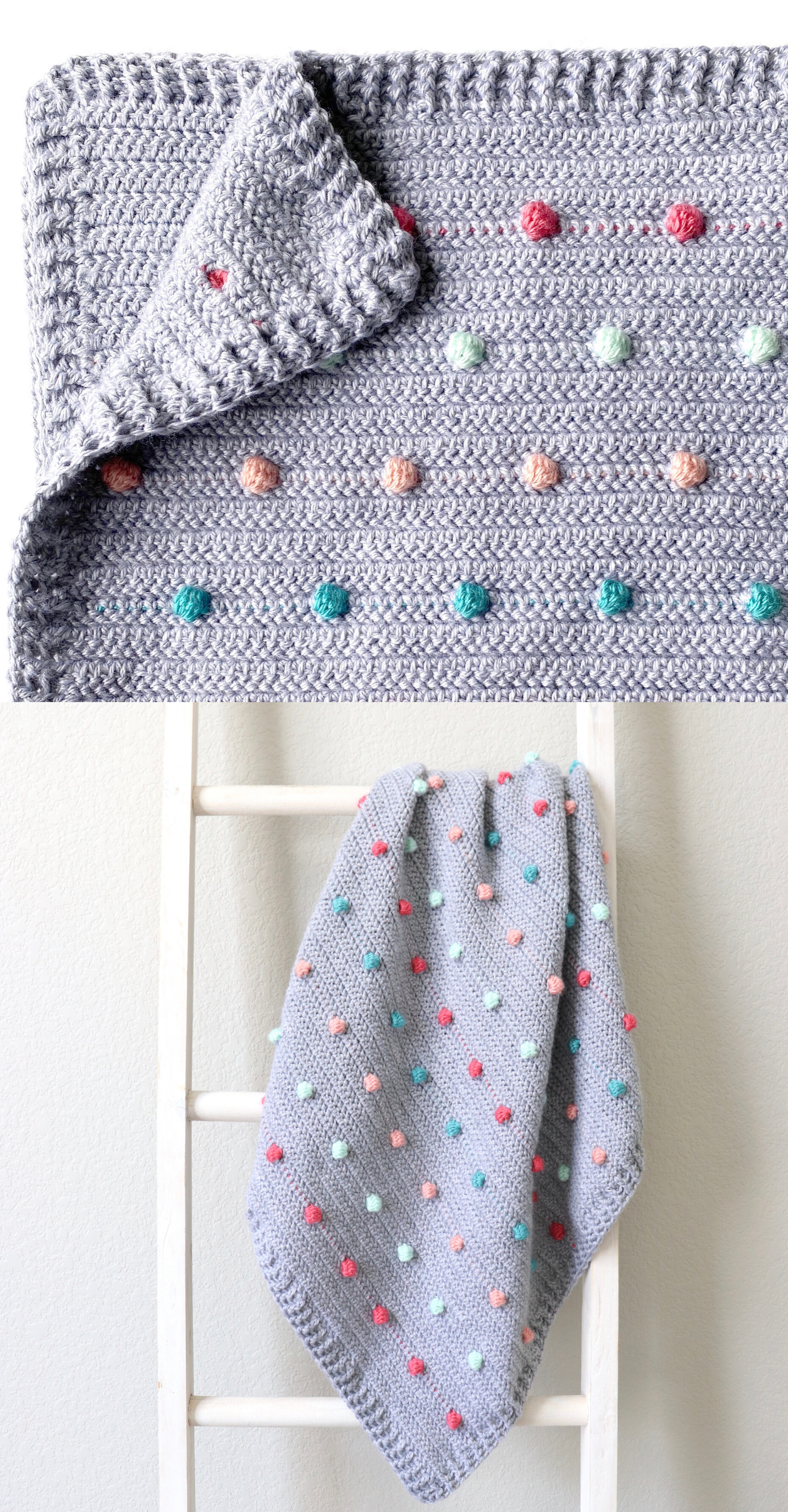 Free Pattern - Crochet Colorful Polka Dots Blanket