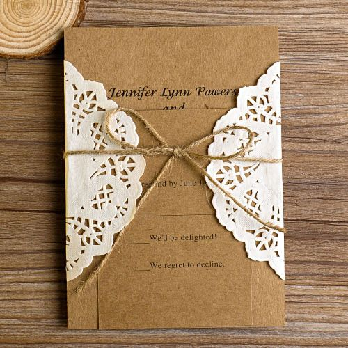 Vintage Rustikal Spitze Tasche Wedding Einladungskarten Hochzeit 2014 Mit  Jute Seil Rustikal Spitze Einladungskarten Hochzeit 2014