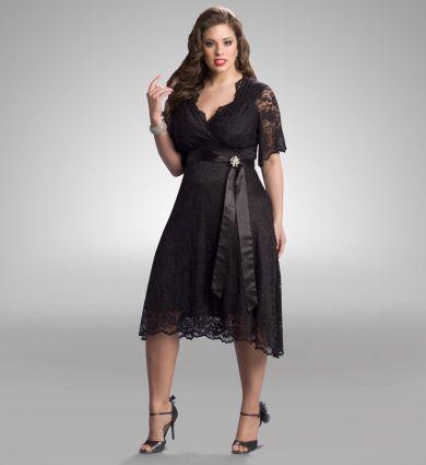 Black lace cocktail dress plus