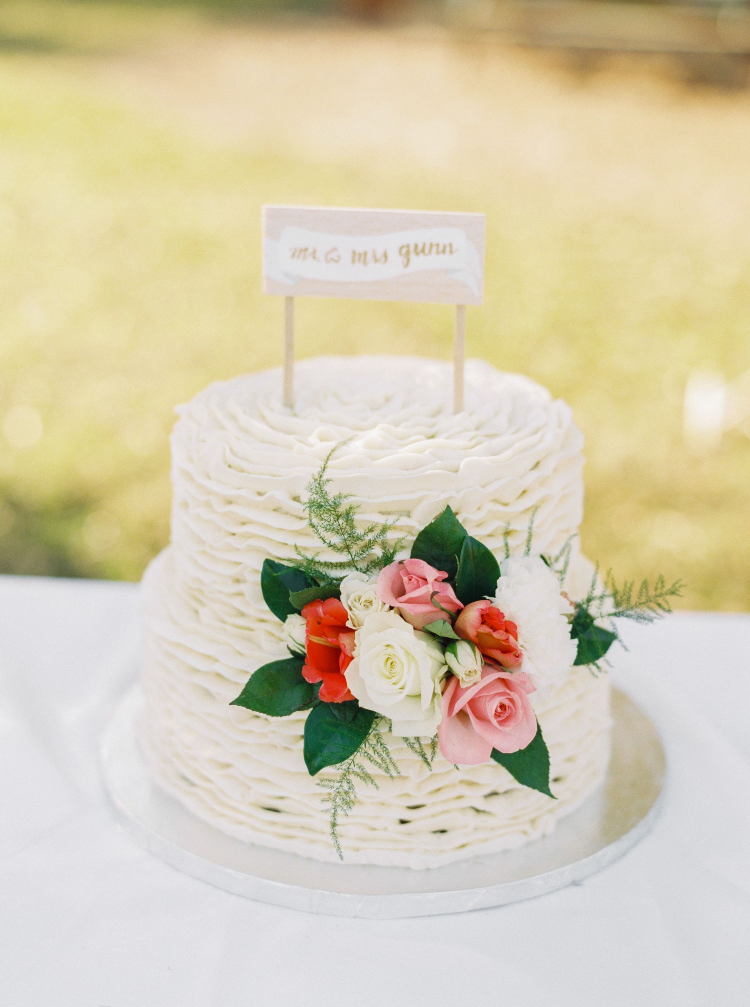 Two Tier Ruffled Fondant Cake | Wedding Cake ideas | Pinterest ...