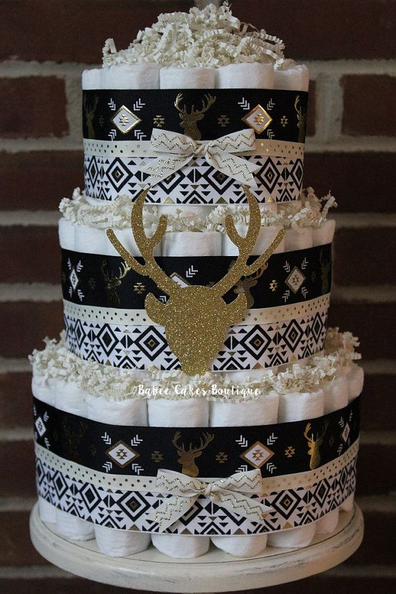 3 Tier Black And Gold Deer Diaper Cake Buck By