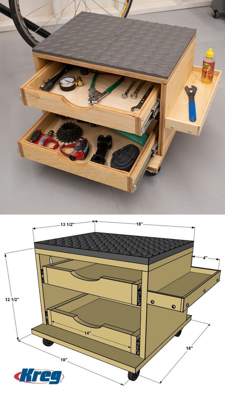 Rolling Work Seat and Tool Storage Cart - Storage Cart - Ideas of Storage Cart #StorageCart -  Whether youre building a DIY project or working on something else sometimes its great to have a place to sit while you work. This rolling work seat lets you work in comfort and still move around easily plus it offers storage drawers and a small shelf to hold the tools and supplies you need. #toolstorage