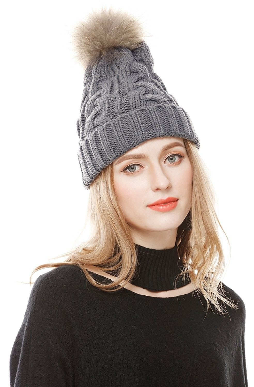 6e76eef91ed Women s Winter Hand Knit Real Fur Pompoms Beanie Hat - Light Gray ...