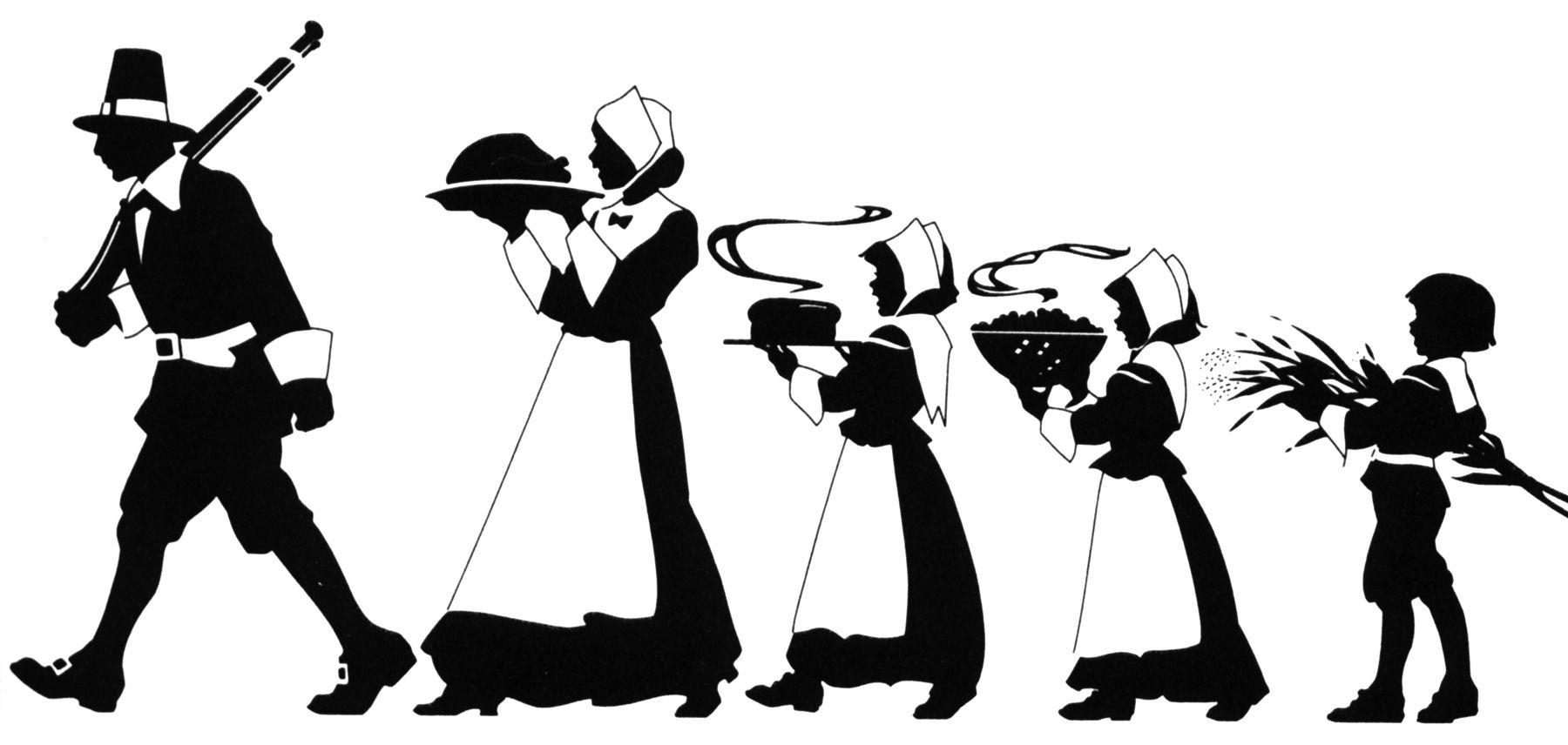 Thanksgiving silhouettes | Thanksgiving clip art ...
