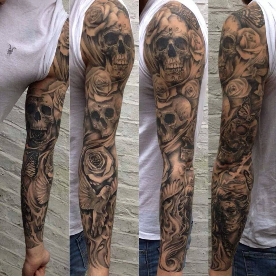 sleeve tattoo skulls sleave pinterest tattoo ideen. Black Bedroom Furniture Sets. Home Design Ideas