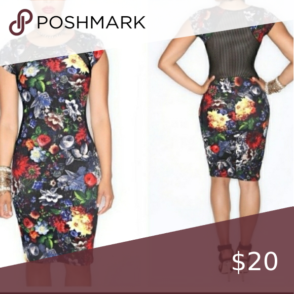 Dress Dress Fitted, Floral print dress with mesh b