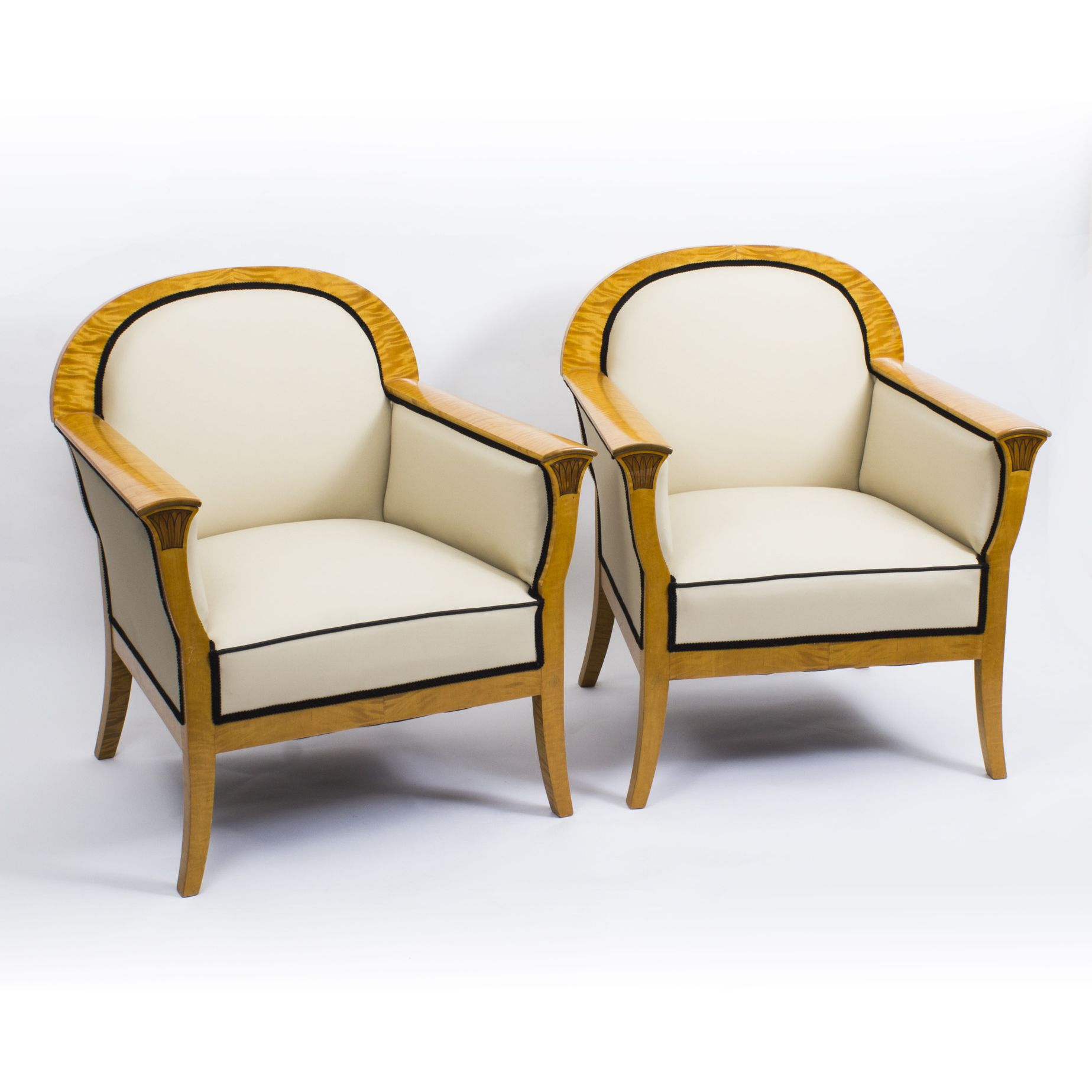 Antique Pair Swedish Art Deco Creme Leather Armchairs c ...