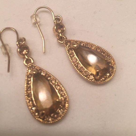 "Pear shaped champagne colored earings Pear shaped champagne colored earings.1 1/4"" long, enhances an elegant look Jewelry Earrings"