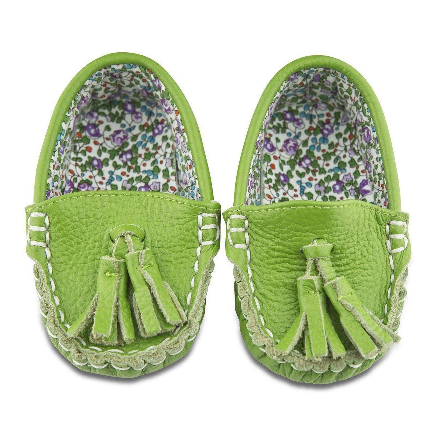 Go Green Leather and Fabric Lined Moccasin Shoes 18 24 Months