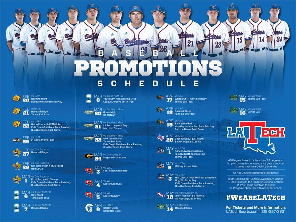 Check out the promo schedule for the entire Louisiana Tech