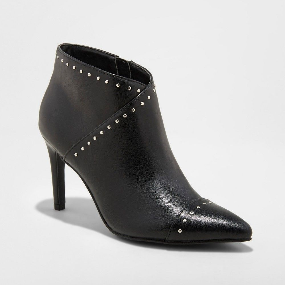 daf5c104da24 Women's Nimo Faux Leather Studded Pointed Toe Bootie - A New Day Black 5.5