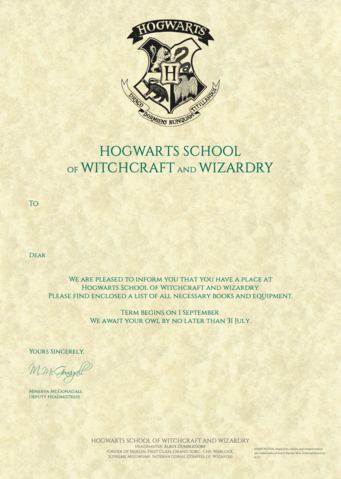 Soft image with hogwarts acceptance letter printable