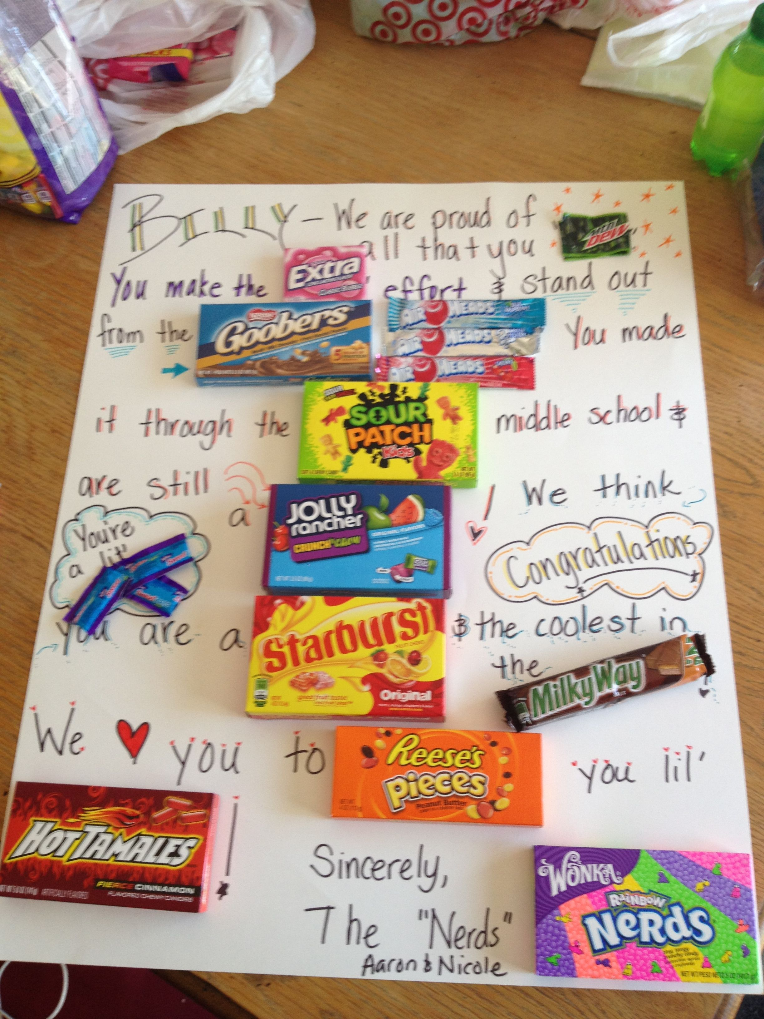 A Candy Card For A Boy Promoting Graduating Middle School