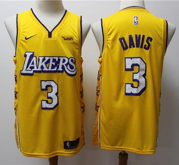 Men #3 Anthony Davis Jersey Yellow Los Angeles Lakers Jersey ...