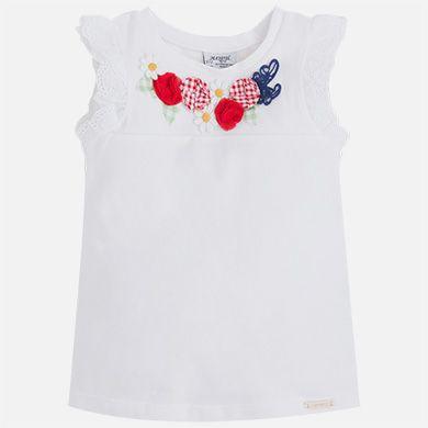 Camiseta niña manga sisa con volante bordado | Objetos y