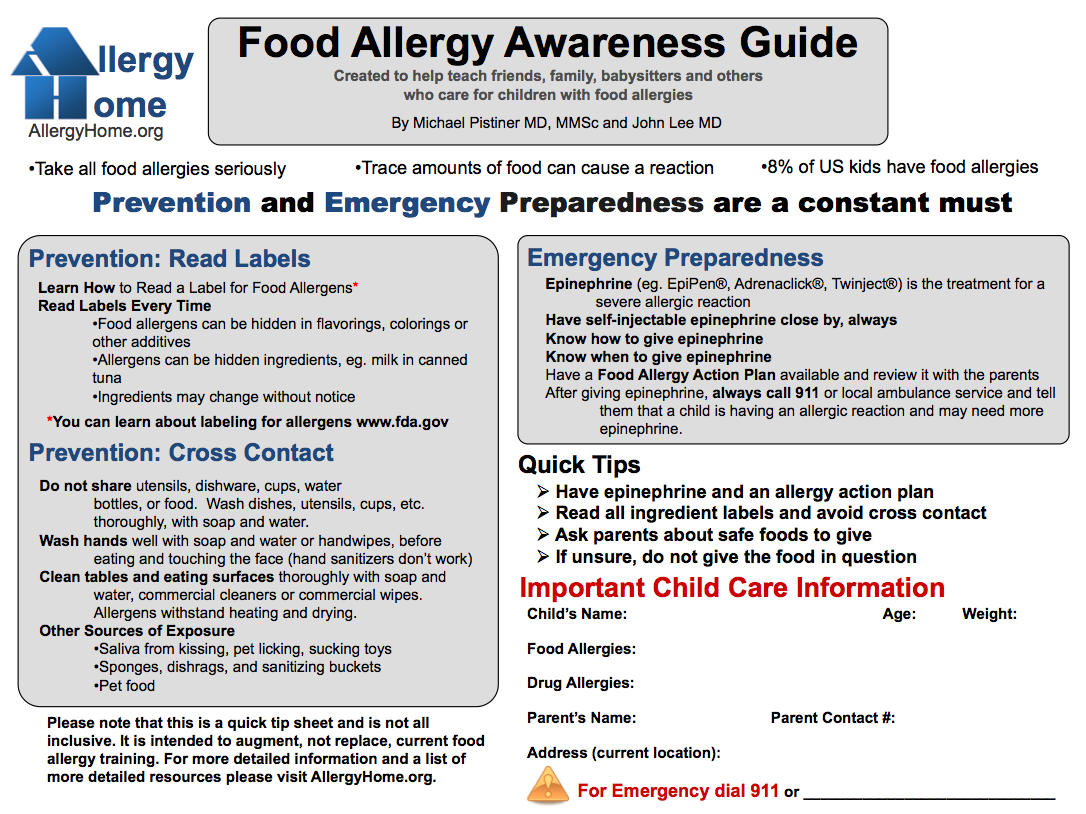 Food Allergy Awareness Guide Reference Since All My Kids Have