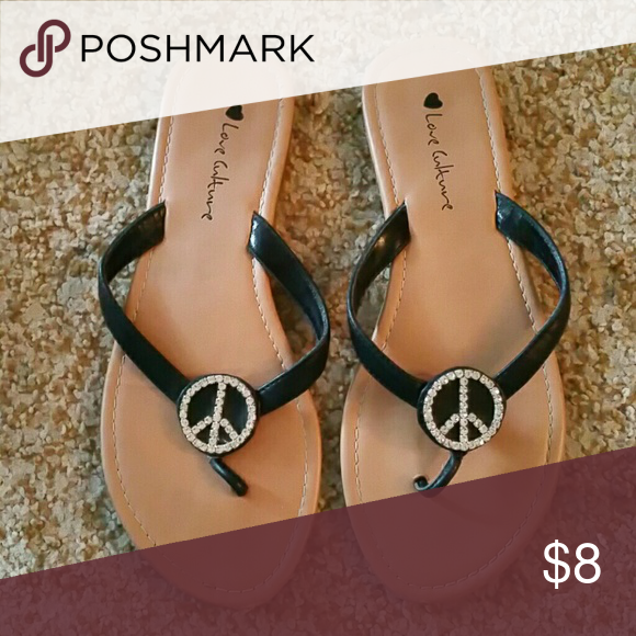 Love Culture sandals Black strap with silver stones make up peace sign Love Culture Shoes Sandals