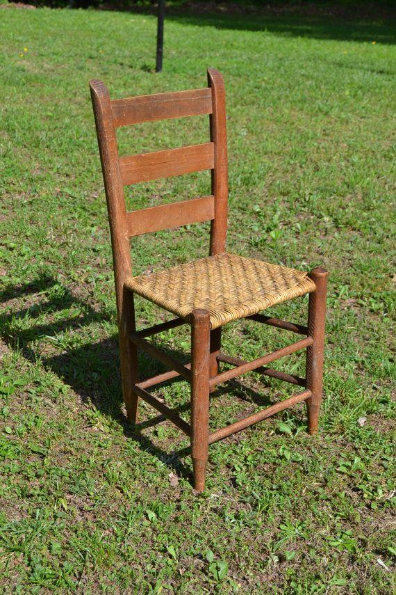 Vintage Antique Ladder Back Wooden Chair Woven Seat Primitive Rustic