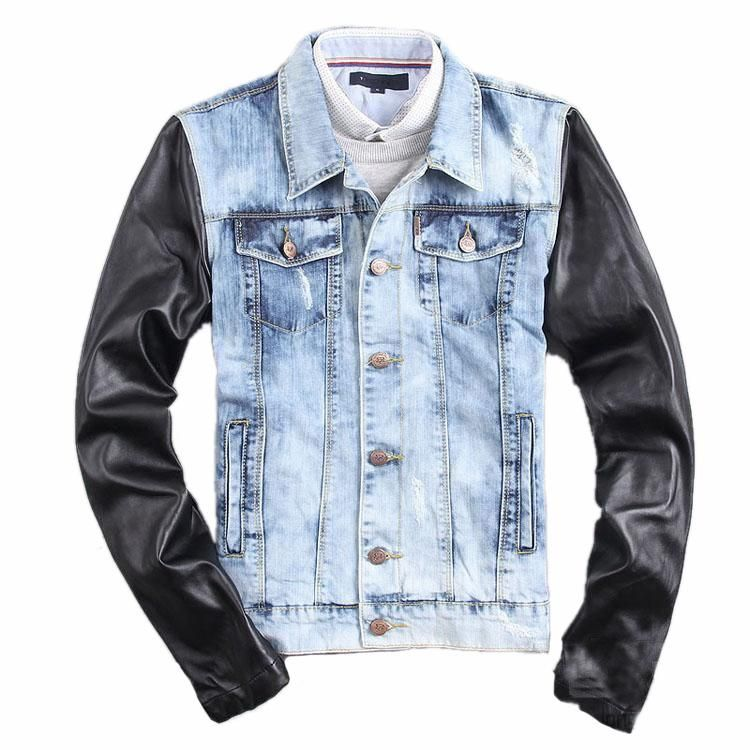 New Fashion Men Blue Ripped Jeans Jacket Leather Sleeve Vintage ...
