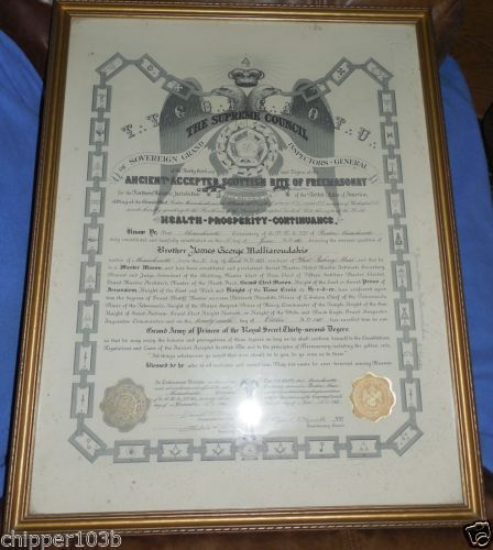 Vintage Framed Freemason Scottish Rite 33 Degree Certificate