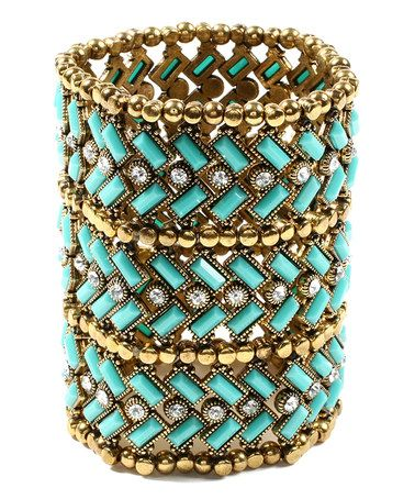 Love this Gold & Turquoise Crystal Thompson Street Long Stretch Bracelet on #zulily! #zulilyfinds