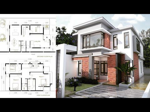 Sketchup Modern Home Plan Size 8x12m With 3 Bedroom Youtube Courtyard House Plans Simple House Plans Modern Courtyard