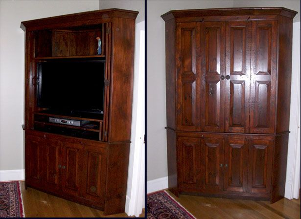Superbe Corner Tv Armoire With Pocket Doors