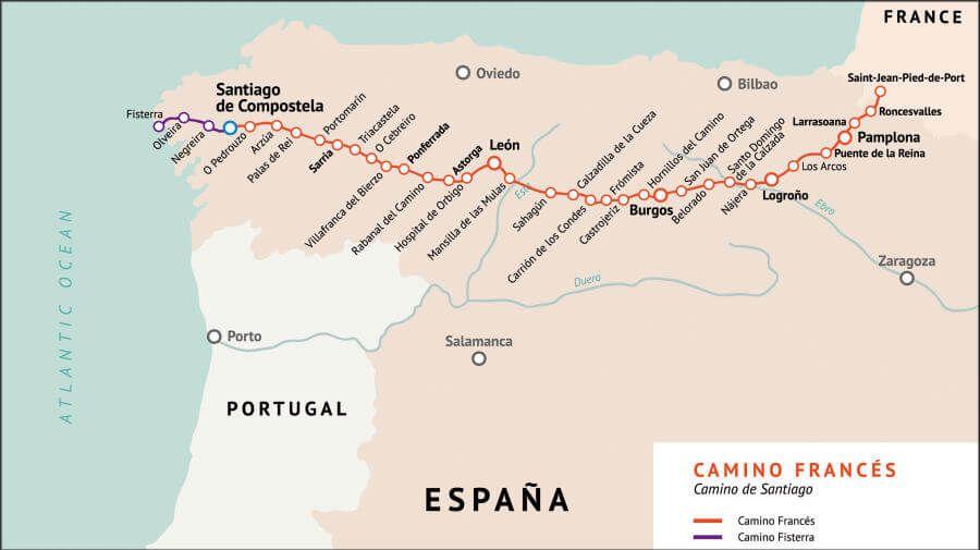 Camino De Santiago Mapa Etapas.Todas Las Etapas Del Camino De Santiago Frances Con