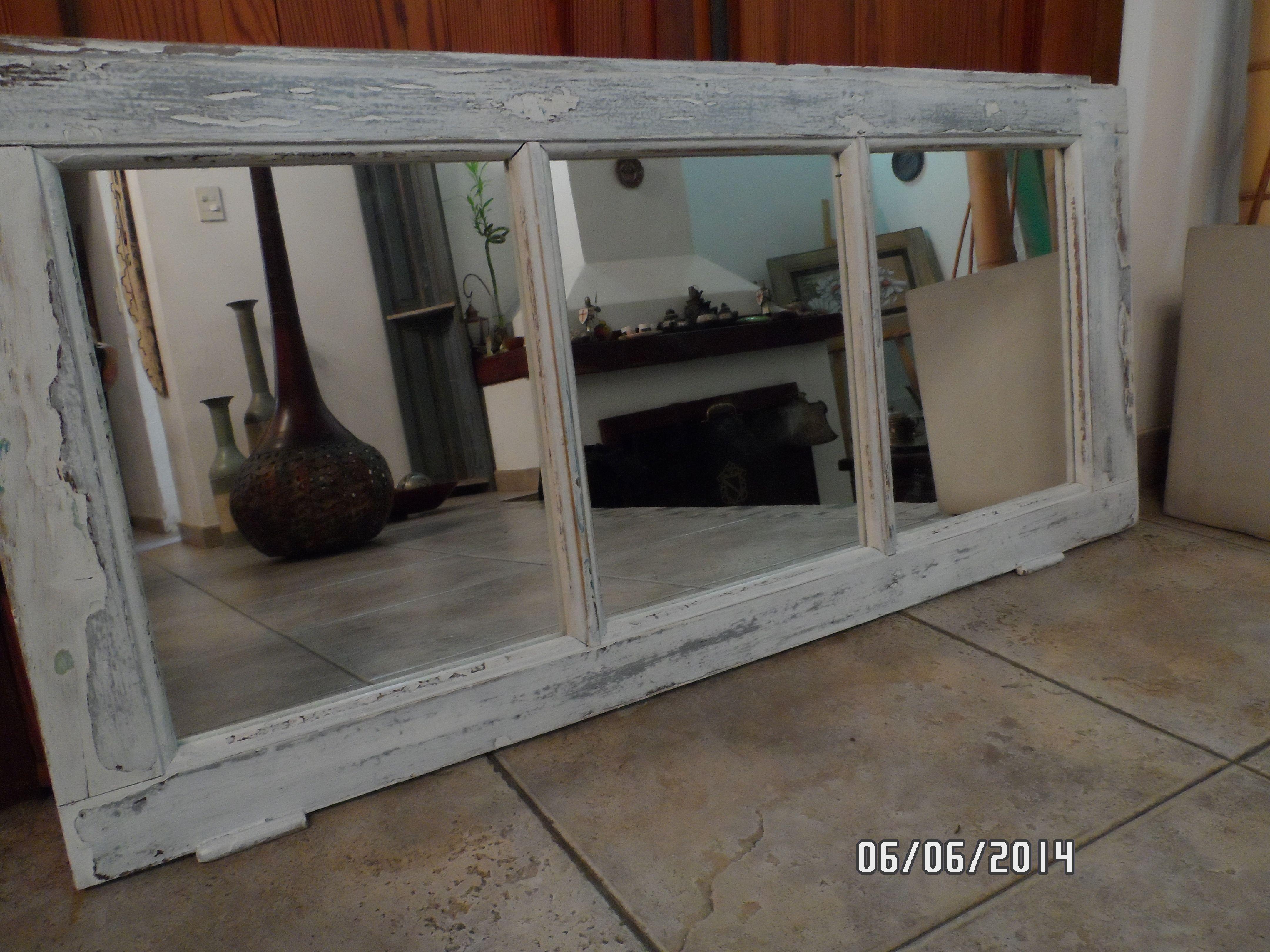 Banderola de puerta antigua transformada en espejo. Divina para la ...