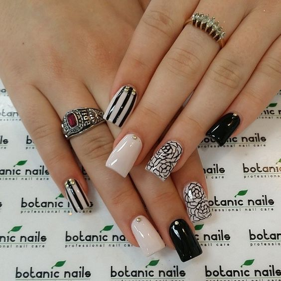 beige-nails-with-black-patterns via nail designs - nail arts - 18 Beige Nails For Your Next Manicure Beige Nail, Designs Nail Art