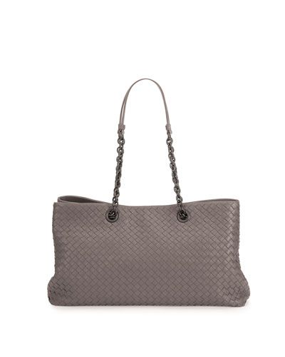 737c459486 V2JY1 Bottega Veneta Double-Chain Woven Tote Bag