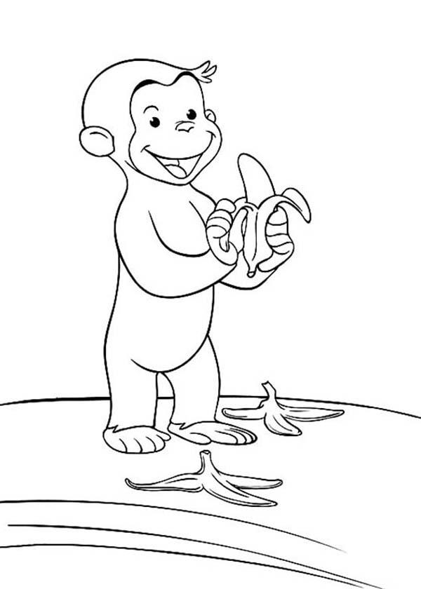 Curious George Littering The Way With Banana Peel Coloring Page Netart Gambar Hewan Warna Gambar