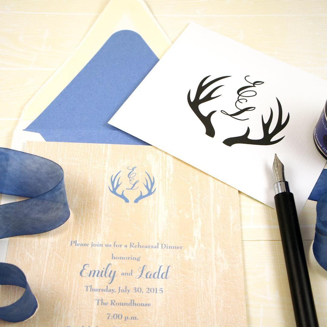 Hand-drawn Antler Monogram for Western Wedding Invitation honey ...