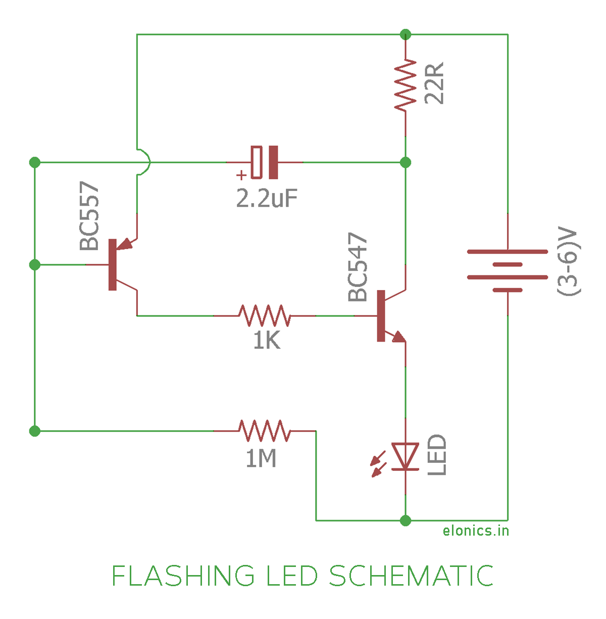 Flashing Blinking LED circuit using transistors -Schematic | arduino ...