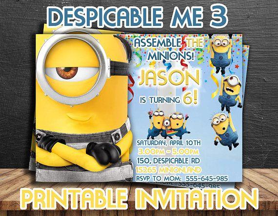 minions invitation personalized printable minions invites despicable