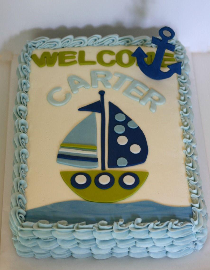 Nautical Sheet Cake   Nautical Baby Shower Cake