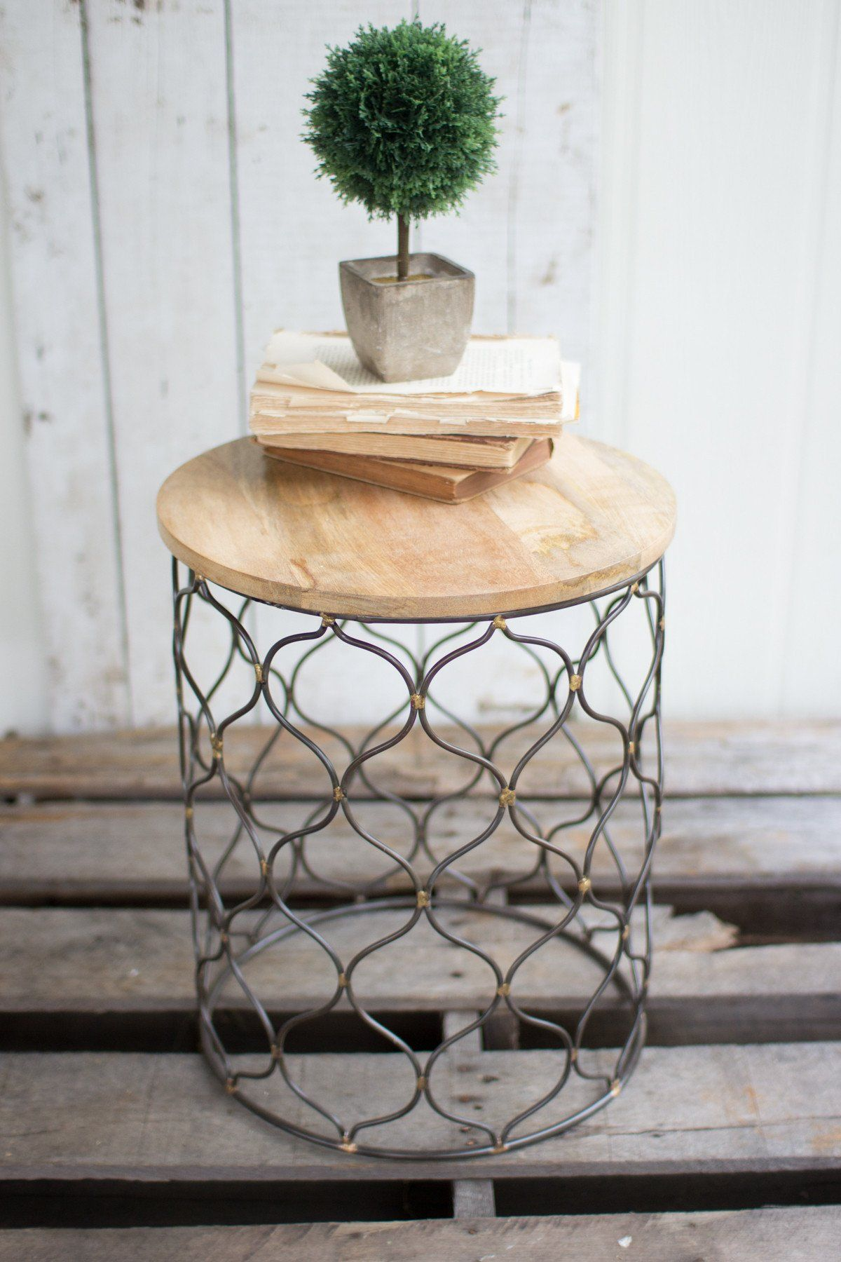 Kalalou iron arabesco side table with mango wood top products