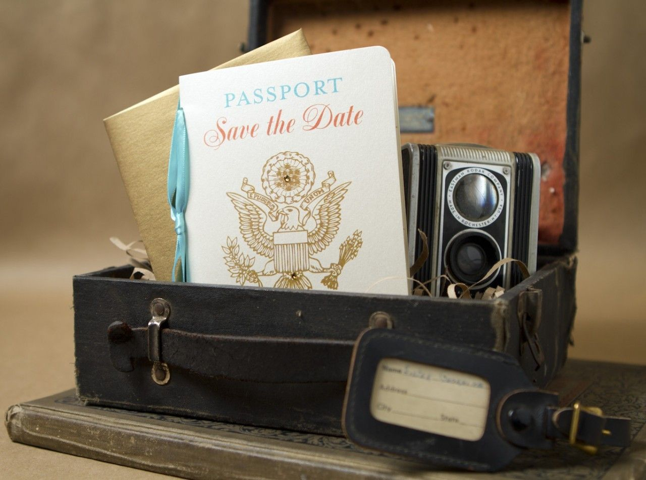 Traditional Passport Save the Date (Dominican Republic)